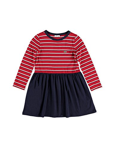 Lacoste Girl's Cotton Jersey Striped Dress In Size 10 Years (140 cm) Red by Lacoste