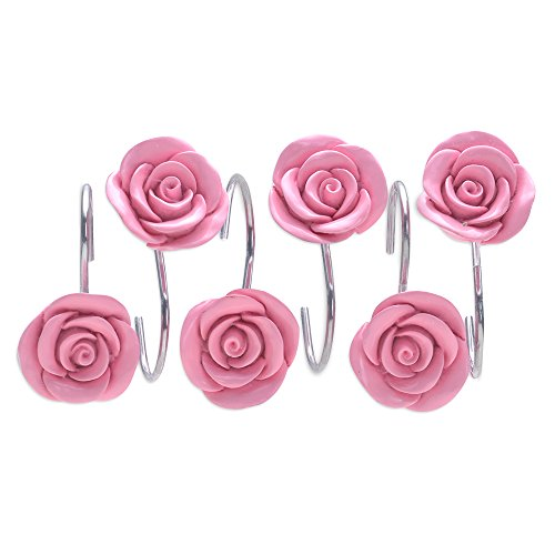 (AGPTEK Shower Curtain Hooks, 12PCS Anti Rust Decorative Resin Hooks for Bathroom, Baby Room, Bedroom, Living Room Decor (Pink Rose))