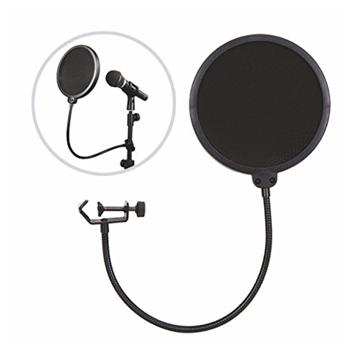 Microphone Pop Filter with Flexible Metal GooseNeck Holder, Microphone Wind Screen with Soft Nylon Double-Net Filter for Studio, KTV and Recording Room