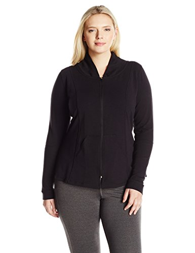 Rainbeau Curves Women's Plus Size Ella Zip-Up Jacket, Black Heather, 3X