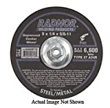 Radnor 9'' X 1/8'' X 5/8'' - 11 A24R Aluminum Oxide Type 27 Depressed Center Cut Off Wheel For Use With Right Angle Grinder On Metal And Steel, Package Size: 10 Each