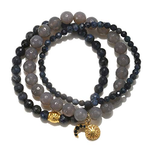 Multi Gemstone Journey Pendant - Satya Jewelry Women's Grey Agate Dumortierite Stone Gold Sun & Moon Stretch Bracelet Set, Multi, One Size