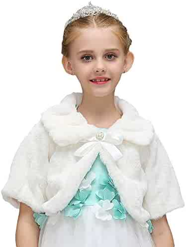 Liveinu Girls Faux Fur Shawl Flower Girl Wraps Cape Princess Wedding Bolero Shrug