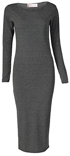 MRstriver Women's Long Sleeve Scoop Neck Midi Dress Charcoal20/22 Plus (Formal Dress Johnny)