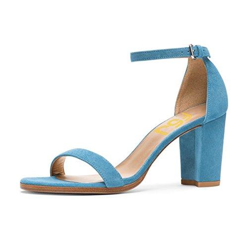 Fsj Donne Moda Sandali Con Tacco Grosso Con Cinturini Alla Caviglia Scarpe Aperte Per Le Dimensioni Del Vestito 4-15 Us Deep Sky-blue