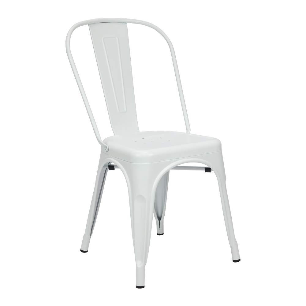 Vaukura Silla Tolix (Pack 4) - Silla Industrial Metálica Mate (Blanco Neutro)