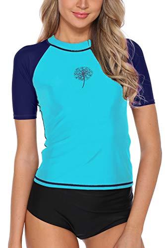 - V FOR CITY Rash Guard UV Shirts for Women Sun Protection Short Sleeve Rashguard UPF 50+ Aqua S