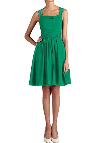 Chiffon Kurz Partykleid Applikation Cocktailkleid Ivydressing Zwei A Traeger Grün Mini Damen Spitze Linie Heimkehrkleid Einfach Uwq8If