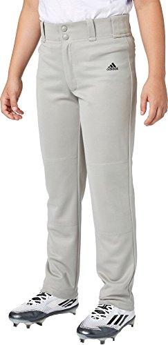 Adidas Boys' Triple Stripe Open Bottom Baseball Pants (Grey Baseball, 2XS)