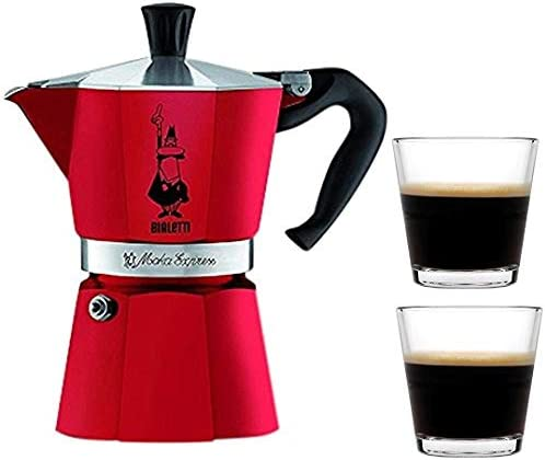 Bialetti Moka Express Stovetop Percolator (3 Cup, Red Passion)