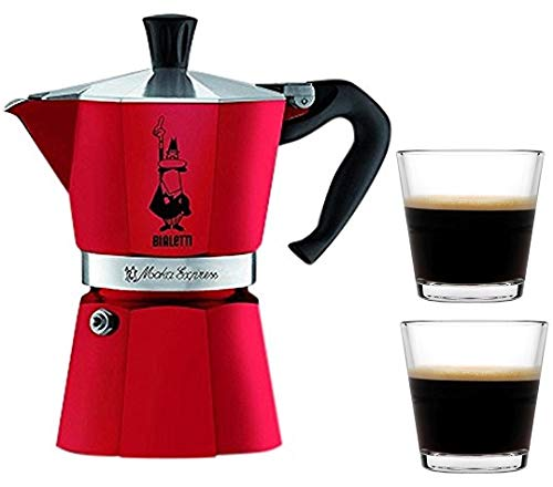 Bialetti Moka Express Stovetop Percolator (3 Cup, Red Passion)
