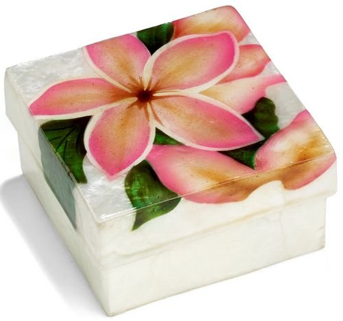 Kubla Craft Pink Plumeria Capiz Shell Keepsake Box, 3 Inches Square