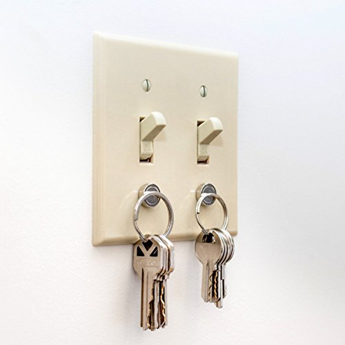 Magnetic Key Holder for Light Switch by MAGKEY Company - Smart Design for Keychain Ring Fob and Modern Car Keys - No More Shelf or Wall Mounts with Easy Screw in Design - 2 Pack