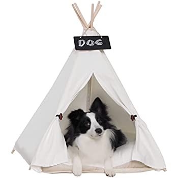 little dove Pet Teepee Dog(Puppy) & Cat Bed - Portable Pet Tents & Houses for Dog(Puppy) & Cat Beige Color 28 Inch with Thick Cushion