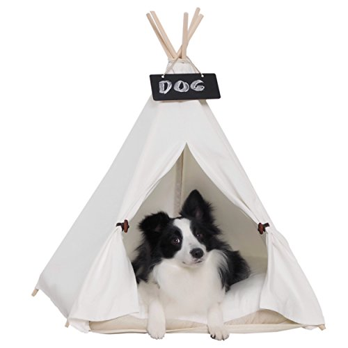 little dove Pet Teepee Dog(Puppy) & Cat Bed - Portable Pet Tents & Houses for Dog(Puppy) & Cat Beige Color 28 Inch with Thick Cushion ()