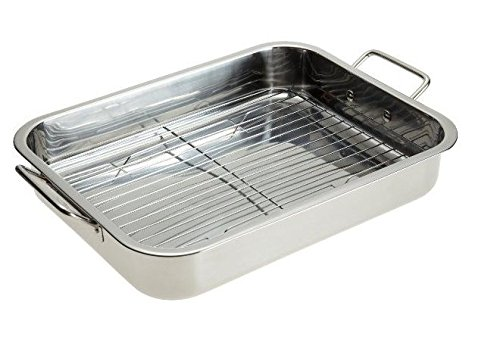 Stainless Steel Heavy Duty Lasagna Pan - 16 Inch Roasting Pan with Rack by Unknown