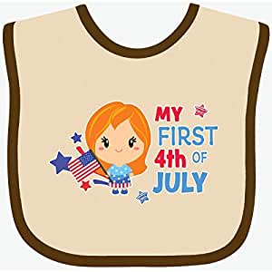 Stars and Baby T-Shirt inktastic My First 4th of July with Brown Haired Girl