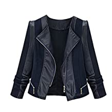 Pretty Moments Women Faux Leather Zipper Biker Moto Jackets Slim Short Coat