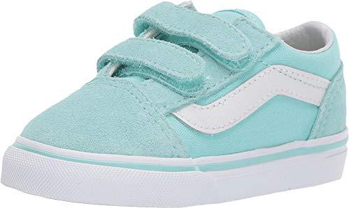 Vans Kids Baby Girl's Old Skool V (Toddler) Blue Tint/True White 6 M US Toddler