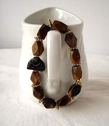 Blackstone Carved Buddha Faceted Tiger Eye Stretch Bracelet Handmade Boho Jewelry