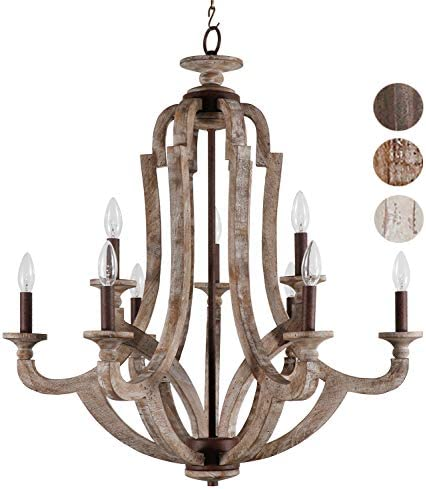 Springzouk 9 Light Wooden Chandelier,Super Easy Install,Very Classy and Antique Looking – L29.5 xW29.5X H33.2 Inches Vintage Wooden Grey