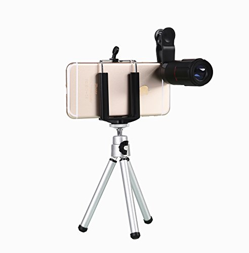 WONBSDOM Universal 8X Zoom Clip-On Aluminum Telephoto Manual Focus Telescope Camera Lens Phone Lens (Black) With Tripod + Retractable Phone Holder + Microfiber Cleaning Cloth for iPhone 4S 5 5S 5C 6 iTouch iPad Samsung Galaxy S3 S4 S5 S6 Note 2/3/4 HTC Nokia Sony,etc.
