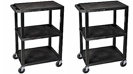 Luxor WT34S 3 Shelves Tuffy Utility Cart   Black (Pack Of 2)