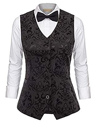GRACE KARIN Womens Waistcoat Vest Vintage Steampunk Dress Jacquard Jacket