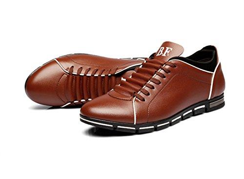 CUSTOME casual PU Ata Hombre zapatillas zapatos marrón cuero los RrwqRx5nAC