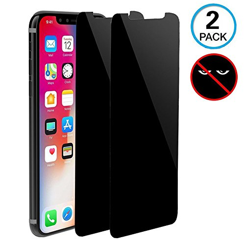 [2 Pack] Magicmoon iPhone XS/X Privacy Screen Protector, Anti-Spy Tempered Glass Screen Guard Compatible iPhone XS/X/10 5.8- Keep Your Information Private, Protect Your Screen from Scratches