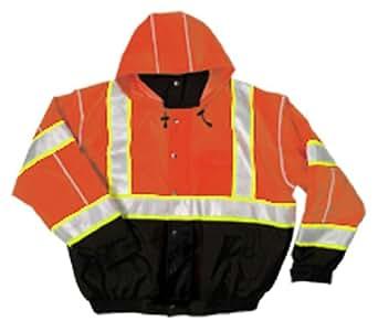 ML Kishigo JS120 Polyester Brilliant Series Bomber Jacket with Hidden Collar Hood, 2X-Large, Orange