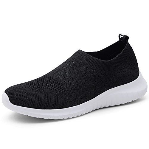 TIOSEBON Women's Walking Shoes Lightweight Breathable Flyknit Yoga Travel Sneakers 7.5 US Black by TIOSEBON
