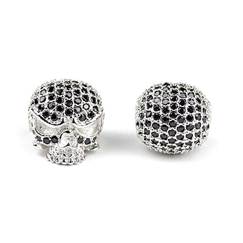 - Calvas Skull Pendant Copper Spacer Beads Black Micro Pave CZ Crystal Charms Loose Beads for Jewelry Bracelet Making DIY Findings - (Color: Platinum Plated, Item Diameter: 1pcs)