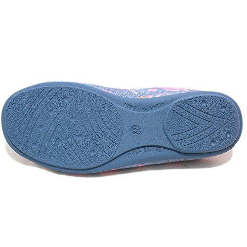 Vulcabicha 358 - Zapatillas abiertas tejanas con motivos fucsias Azul tejano