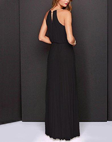 GUOCU Negro Cuello Dama Halter Vestido Mujeres Elegante Respaldo De Honor Falda Sin Noche Sin 2XL De Mangas Larga Cóctel Gasa De Vestido Maxi rBfrqnw4
