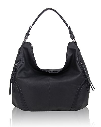 SwankySwans - Alia Faux Leather Hobo Bag, Borse a spalla Donna Nero (Black)