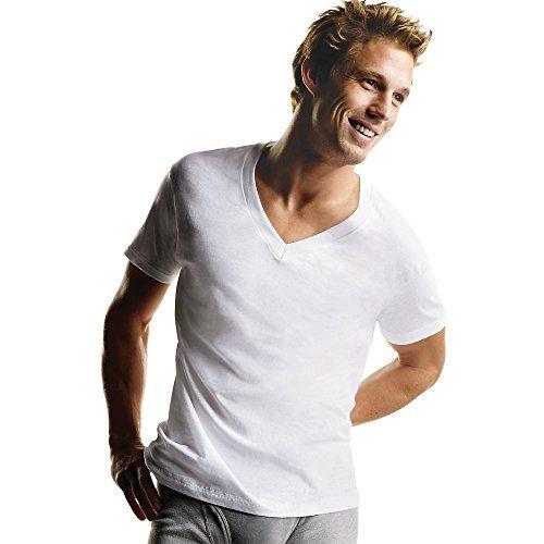 Hanes Men's 7-Pack ComfortSoft Tagless V-Neck T-Shirt (Bonus Pack), Tagless, Medium by Hanes