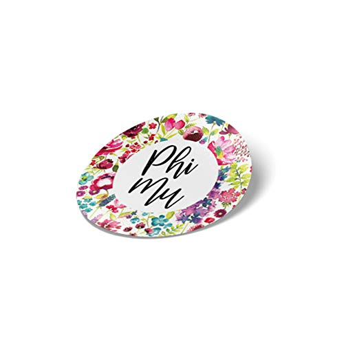 Phi Mu Water Color Flowers Floral Sticker Decal Laptop Water Bottle Car (Circle)
