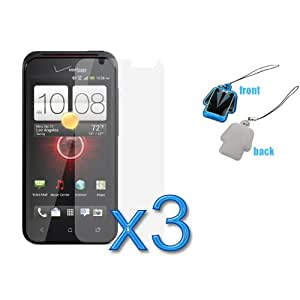 GTMax 3pcs Clear LCD Screen Protector Guard Film + LCD Screen Cleaner Strap for HTC Droid Incredible 4G LTE
