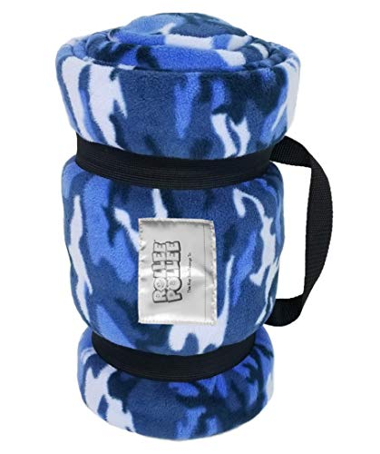(ROLLEE POLLEE Preschool and Daycare Napping Blanket with Pillow, Super Soft, Fits Most Mats and Cots (Blue Camo))