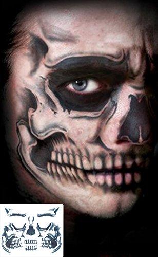 COKOHAPPY 2 Kits Children Temporary Face Tattoo Day of The Dead Sugar Black Skull Devil for Kids