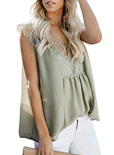 Summer Sleeveless Tank Tops Shirts for Women Fashion Lace V Neck Blouses Casual Loose Tunic Camisole Green XL