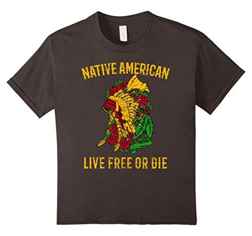 unisex-child Native American Indian Headdress, Live Free or Die Tshirt 8 Asphalt - Native Head Dresses