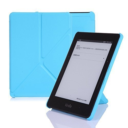 Junk Mail Origami (Amazon Kindle Voyage Case Cover, Leather Origami Stand, Book Folio Style, Secured with Magnetic Closure, Front Lid Attaches to the Back By Magnets, Rubberized Hard Back Shell Cover, with Smart Auto Sleep / Wake up Function, Ultra Slim and Light Weight, Thin, Light Sky Blue, Designed and Manufactured By Nouske Only)