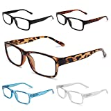 GAOYE 5-Pack Reading Glasses Blue Light Blocking with Spring Hinge,Readers for Women Men Anti Glare Filter Lightweight Eyeglasses (5-Pack, 0.0)