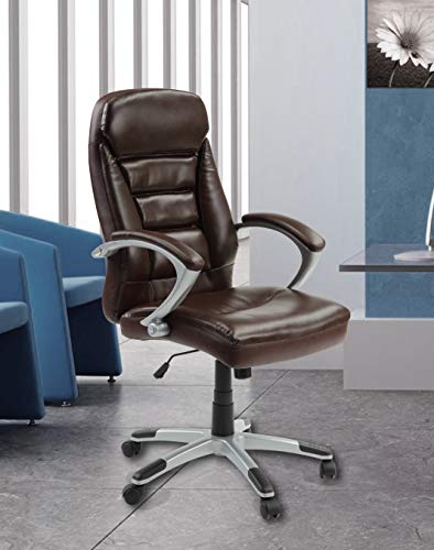 Innovex C0575L99 Excelsus Ergonomic High Back Executive Adjustable Swivel Office Task Chair with thick padded bonded leather arm rests and comfortable cushioned seat