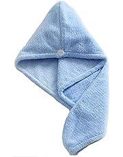 Microfiber Hair Drying Towel,Magic Hair Turban Wrap with Button,Hair Towel Wrap Dry Hair Hat Headband Turban Soft Fasten Drying Head Towel,Bath Shower Cap Drying Towel(Bule&Yellow)2 Pack