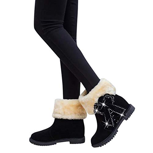 Clearance Sale Wedges Boots,Aurorax Womens Girls Slip-On Snow Boots Winter Suede Bow Pearls Round Toe Shoes 5.5-8 (Black, US:8)