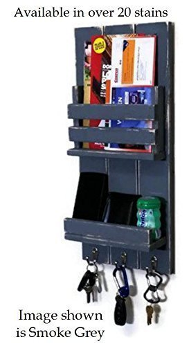 Sydney Vertical Mail Organizer customize with up to 3 key hooks, mail slot and shelf with modern rustic design, Available in 20 Colors by Renewed Decor