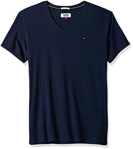 (Tommy Jeans Men's V Neck T Shirt, Tommy Navy, Large)
